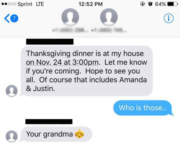 Thanksgiving Invite Text to a Wrong Number