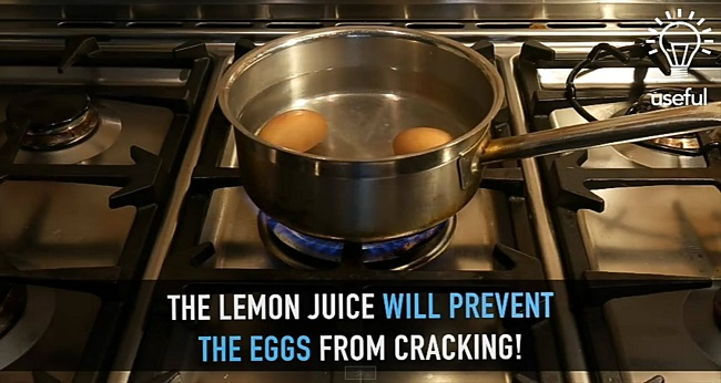 lemon juice actually prevents the eggs from cracking