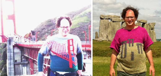 Guy who knits sweaters of places and then photographs himself near them is an instant hit on social media