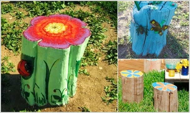 Paint Tree Stumps and create garden art