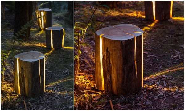 Tree stump outdoor lighting