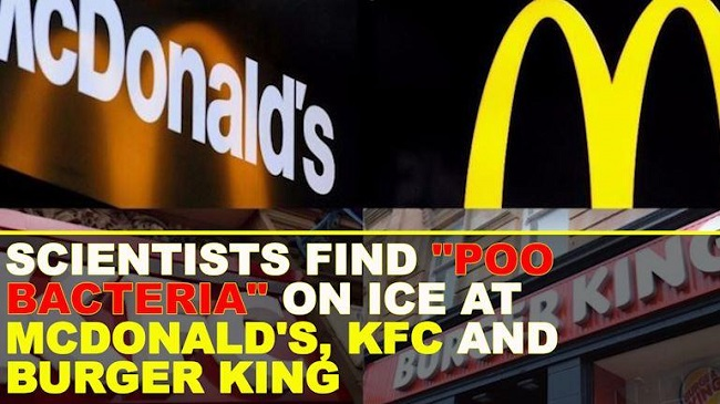 Poop Bacteria found in ice at Mcdonads