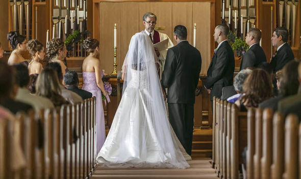 Why does the bride stand to the left of the groom