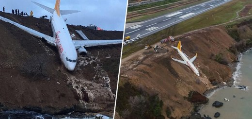 Passenger Jet Liner Shockingly Skids Off Runaway and Balances on Cliff Face Nearly Crashing Into the Sea