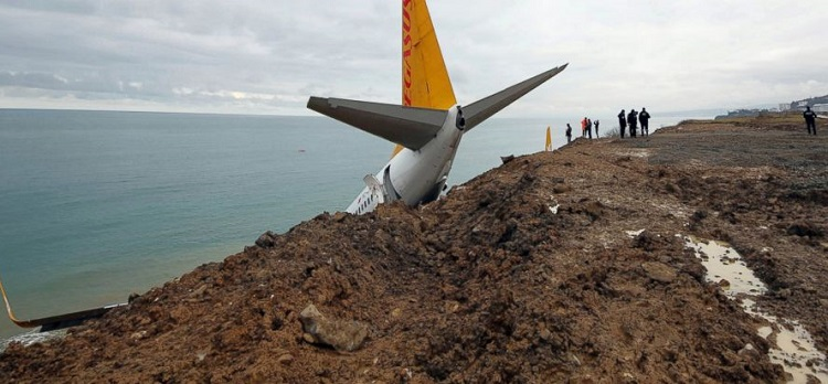 The plane resting on the cliff