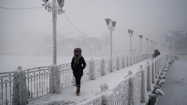 girl walking on the coldest place