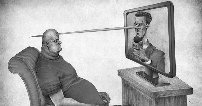 The TV feeds us