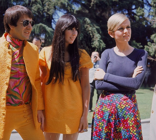 Sonny and Cher welcoming Twiggy to Los Angeles