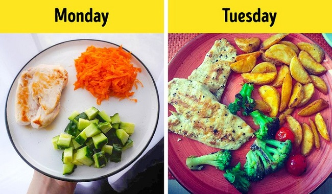 Change the caloric value during the week