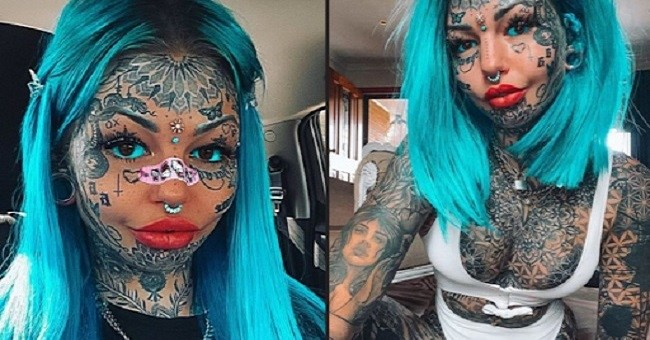 24-Year-Old Tattoo Addict Model Shares Photo Revealing How She Looked Before Inking