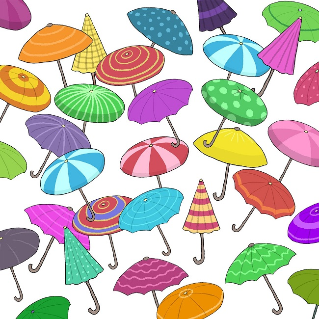 Find the two identical umbrellas