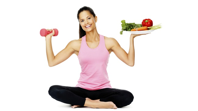Girl with healthy diet