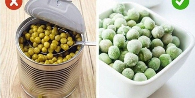 Substitute canned vegetables with frozen ones