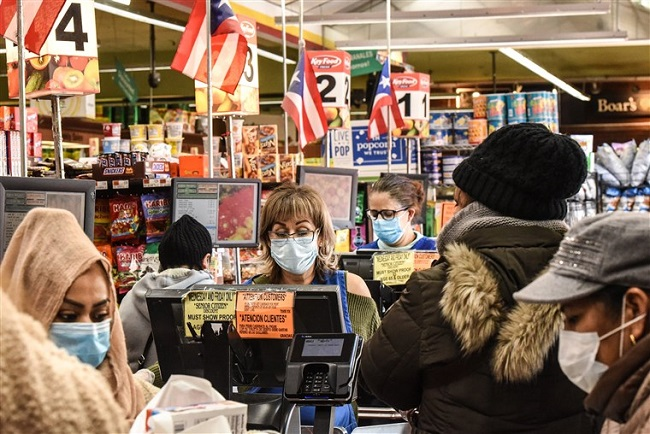 Grocery shopping wearing mask