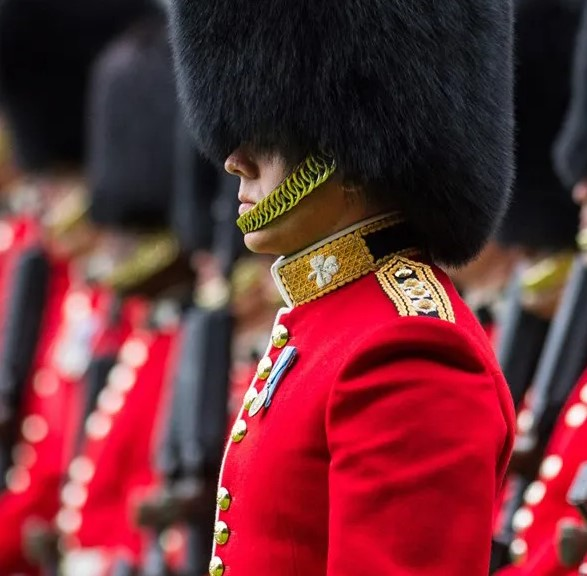 Bearskin hat is the symbol of the guard's royal uniform