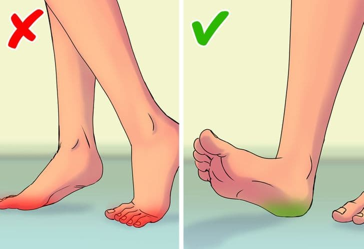 Walking flat-footed or on the balls of your feet