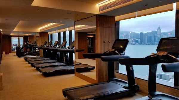 Treadmills inside the enormous fitness center