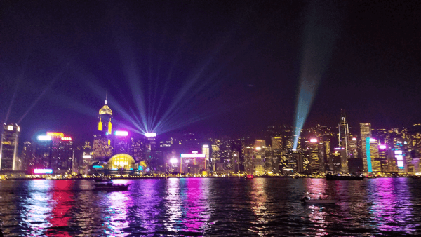 View of Victoria Harbor Lights from Tsim Sha Tsui Promenade