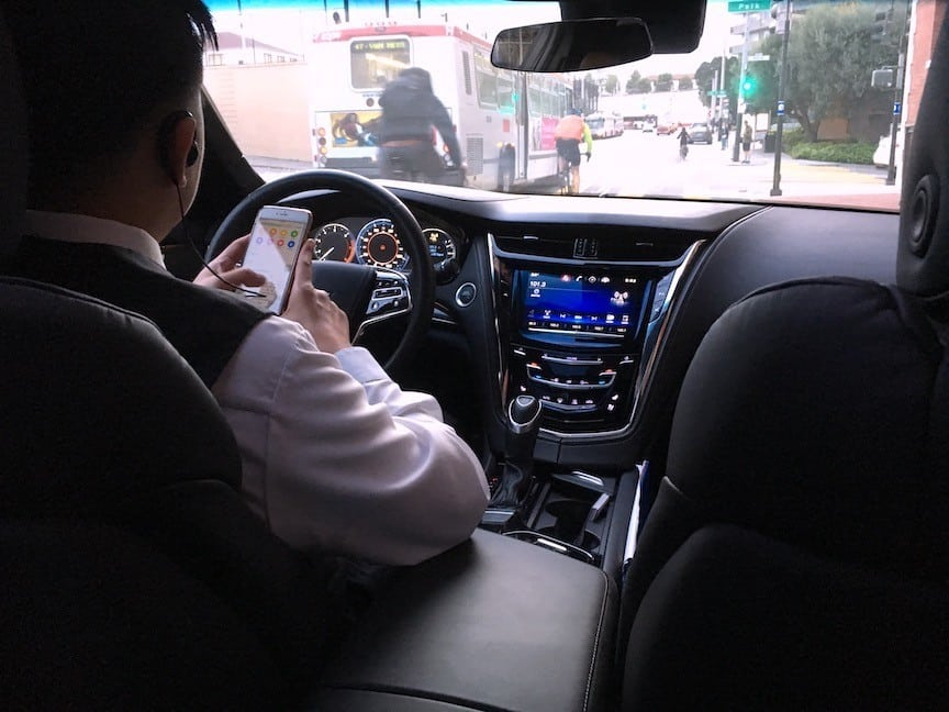 Rideshare driver inputting address for GPS