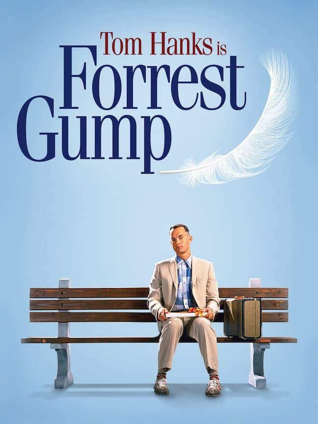 Forrest Gump poster with Tom Hanks sitting on the now famous bench while waiting for his bus