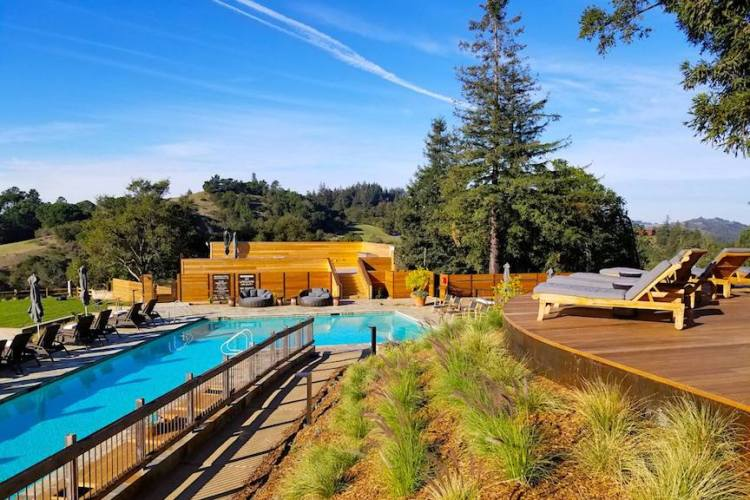 The main hotel swimming pool at the five star Ventana Big Sur