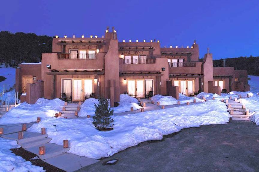 Snowcovered ground Bishops Lodge in Santa Fe