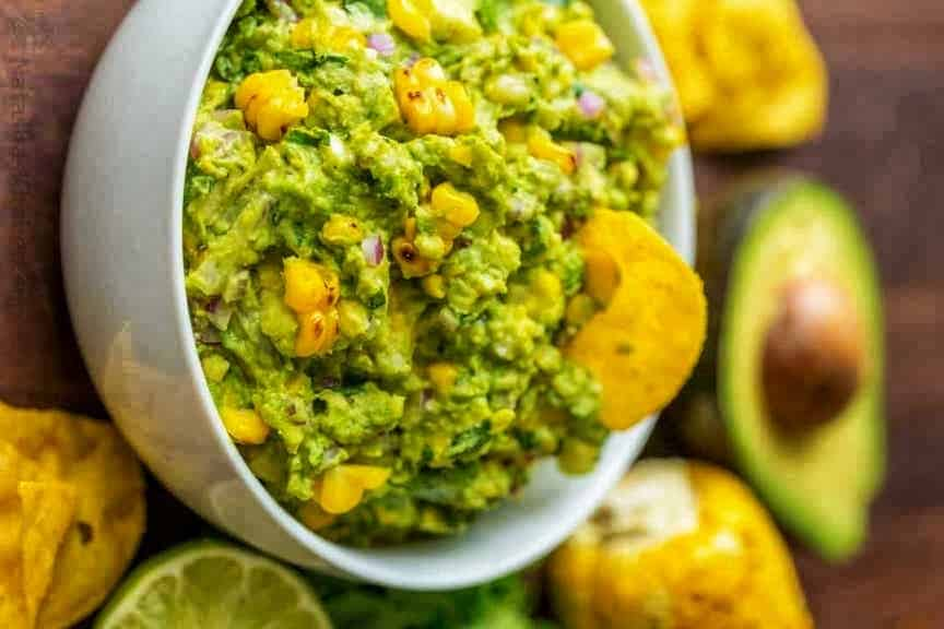 Sweet Corn Guacamole for your Super Bowl party