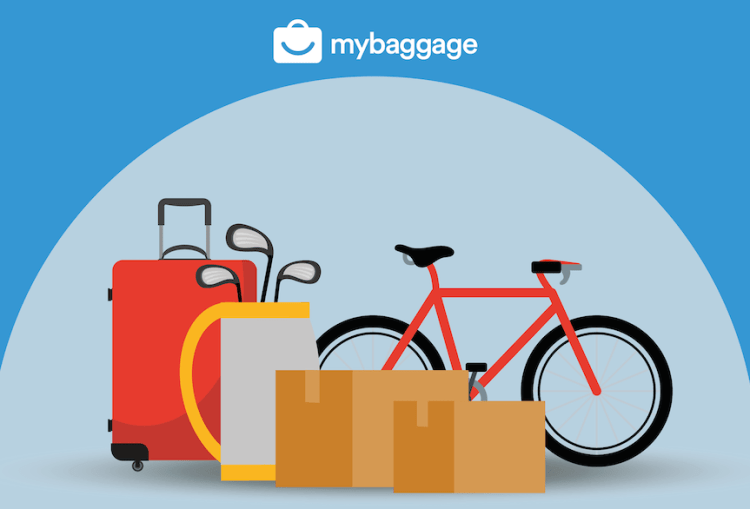 My Baggage graphic of luggage, golf clubs, cardboard boxes and bicycle