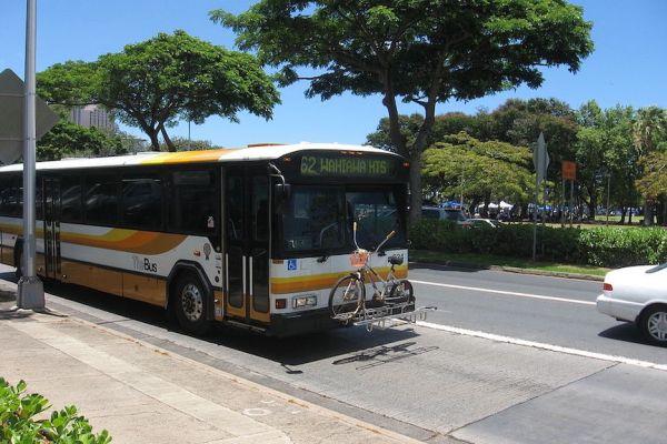 Public bus at Ala Moana Center in Honolulu