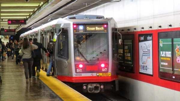 Muni Metro light rail at an underground transportation hub