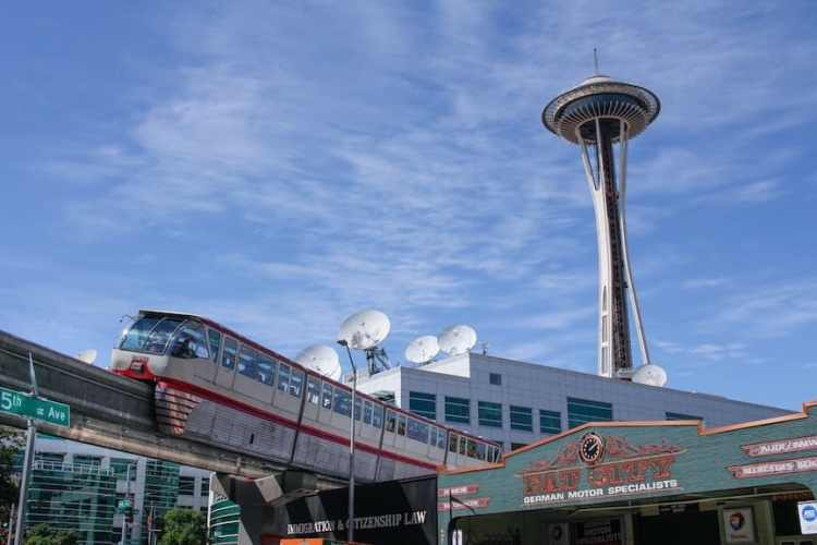 Seattle Center Monorail, with the Space Needle in the background
