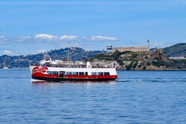 Red & White Ferry Passing Alcatraz Island