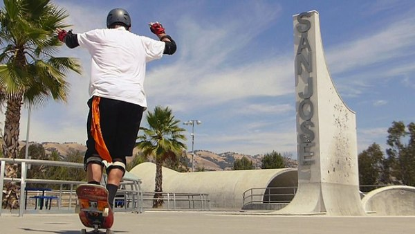 Skateboarder at Lake Cunningham Park in San Jose, California