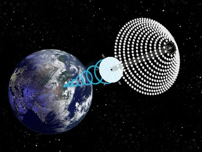"""SPS-ALPHA concept for space solar power: reflectors concentrate sunlight onto module array. Satellite beams power to receiver from geosynchronous orbit. """"The most sobering thing about all of this is scale,"""" says Dr. Paul Jaffe. (Image: John C. Mankins)"""