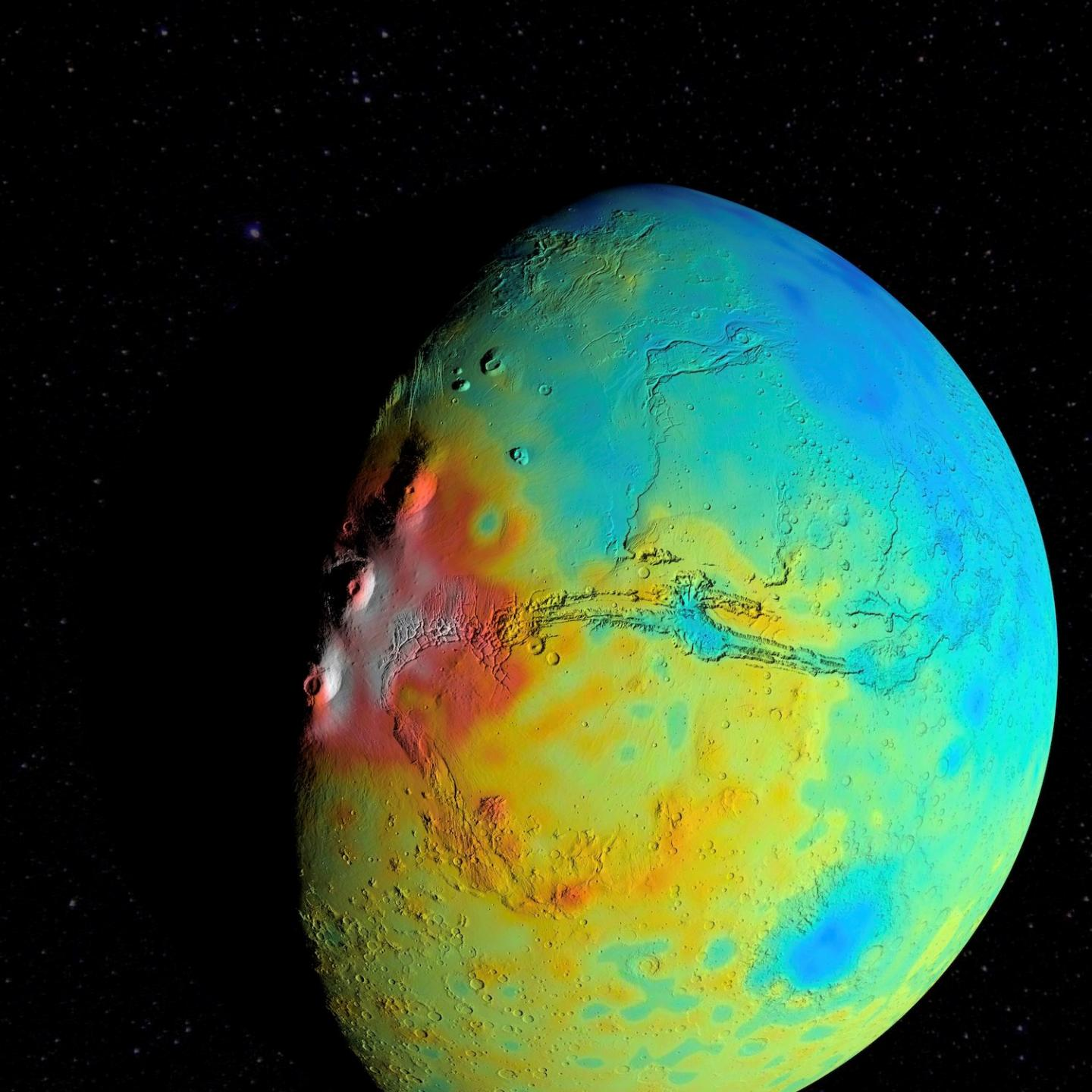 NASA gravity map shows Mars has porous crust