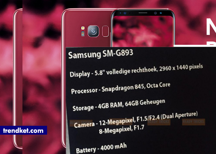 This leaked Screenshot shows the specifications of Samsung Galaxy S9