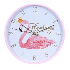 Klocka Flamingo krona Rosa/Vit