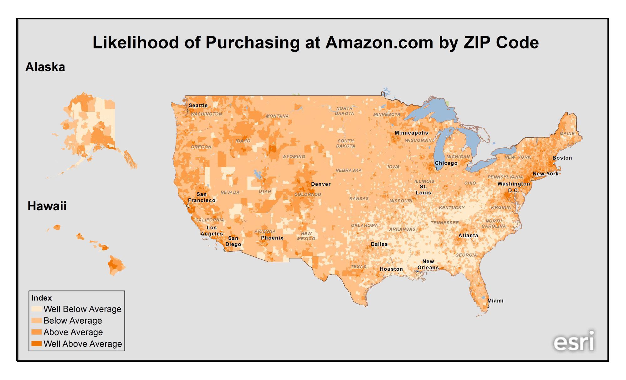 Amazon.com Customers By Zip Code [MAP]