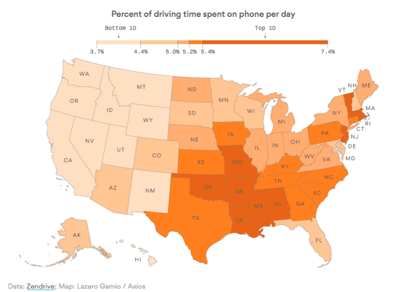 Map: Distracted Driving By State