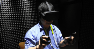 Man using Oculus Rift VR headset.