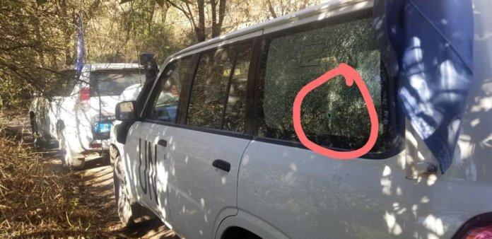 un vehicles targeted by indian forces