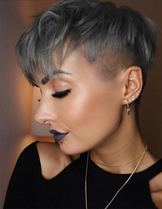 Lovely Metallic Grey Pixie Haircuts that you'll Love