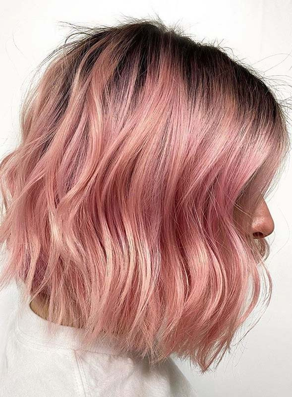 Beautiful pink textured bob haircuts for Women in Year 2020