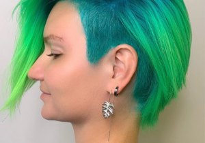 Good Looking Neon Hair Color Style for Short Hair