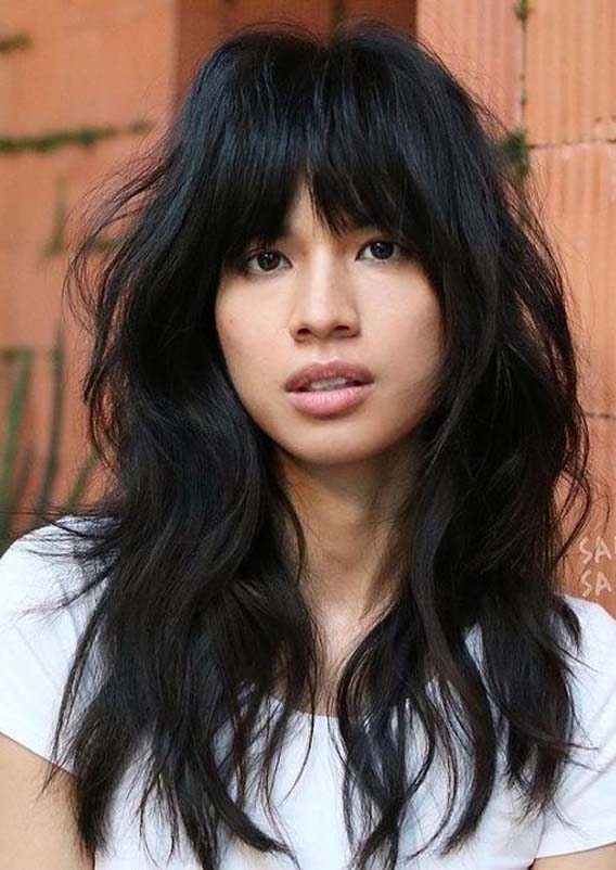 Marvelous Long Shag Hair Styles with Bangs