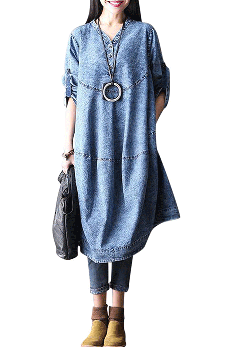 Loose Long Sleeve Denim Dress