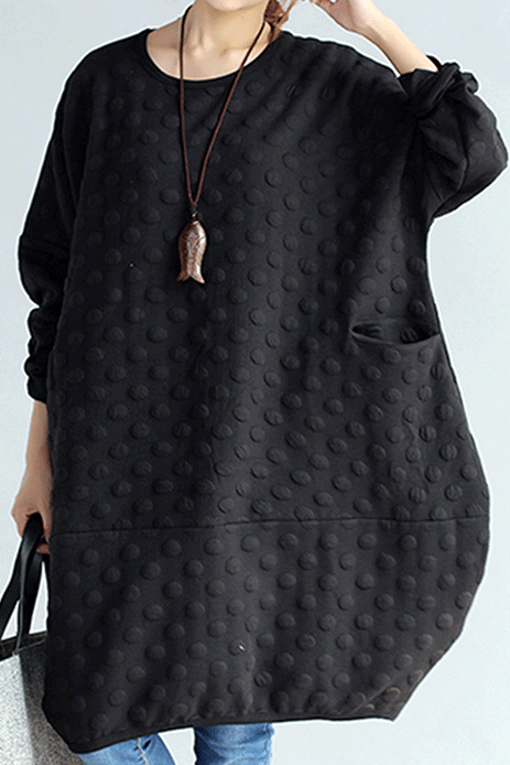 Loose Solid Polka Dot Embossed Sweatshirt Dress