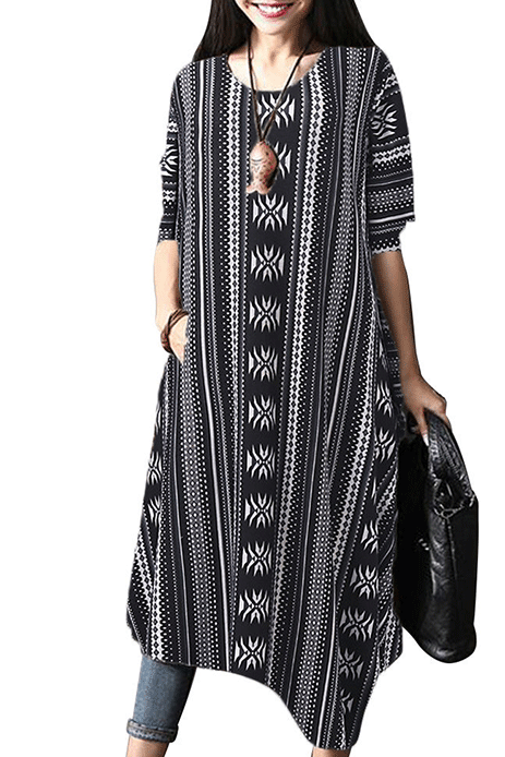 Vintage Geometric Printed Irregular Dress