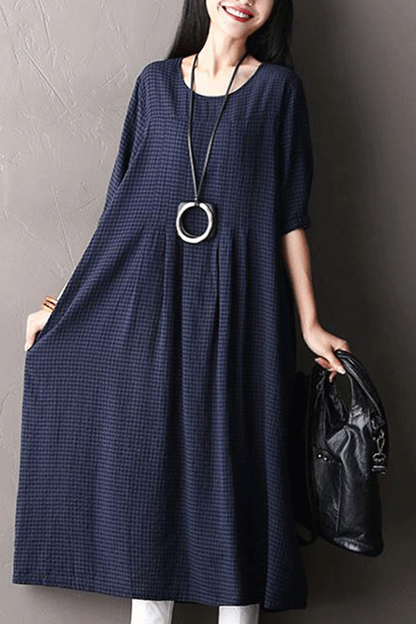 Loose Plaid Pockets Half Sleeve Dress