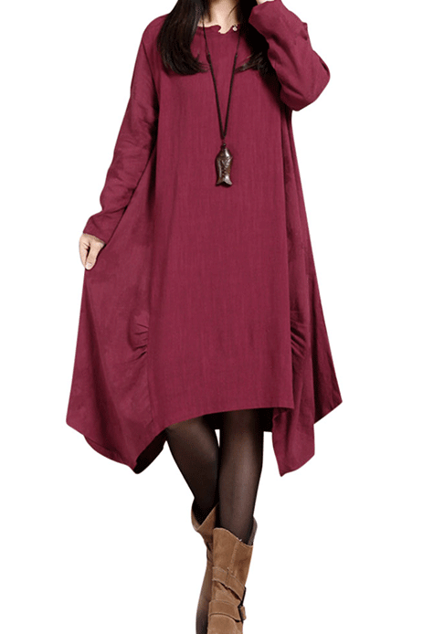 Solid O-Neck Long Sleeve Ruffled Asymmetric Dress
